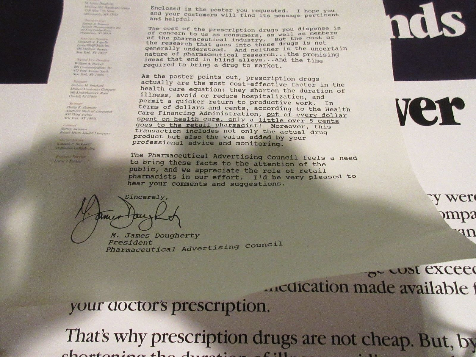 "Rx , Pharmacy . Poster , 16"" X 22"" , Prescription Drug Costs , 1980s , Rare image 9"