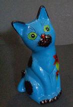 "CAT MONEY BANK Coin Piggy Blue Kitten Figurine Ceramic 6"" NEW image 1"