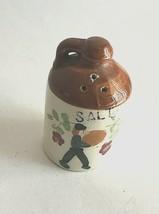 """Vintage Ceramic Salt Shaker Floral Person Walking 2.5"""" Tall Beige Crazed... - £6.11 GBP"""