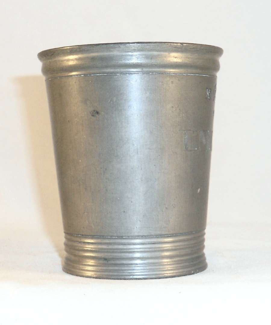 Antique Pewter Half Pint Imperial Tumbler or Measure Marked Walker & Crowned X