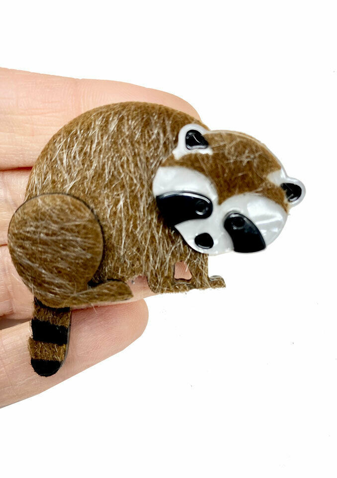 "Primary image for 2"" Tall Large Acrylic and Faux Fur Brooch Pin Furry Raccoon Animal Lover Gift"