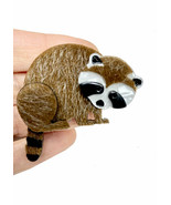 "2"" Tall Large Acrylic and Faux Fur Brooch Pin Furry Raccoon Animal Lover... - $17.58"