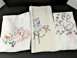 Lot of 8 Vintage Flour Sack Kitchen Towels Hand Embroidered Dish Towels - $17.49