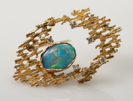 Australian black opal and diamond brooch in 14k yellow gold - $895.00