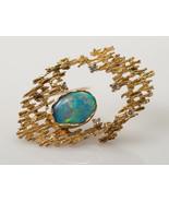 Australian black opal and diamond brooch in 14k yellow gold - $895.00