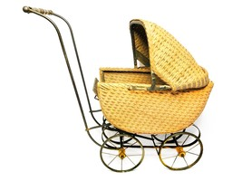 Antique victorian wicker and metal doll baby carriage / buggy / pram - $289.00