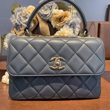 AUTH CHANEL TIFFANY BLUE QUILTED LAMBSKIN TRENDY CC 2 WAY HANDLE FLAP BAG GHW image 2