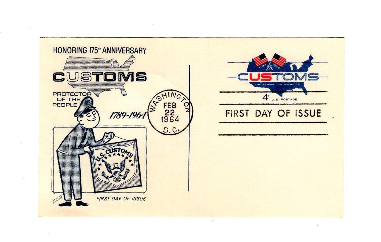 POSTCARD-FDC  HONORING 175 ANNIVERSARY OF US CUSTOMS-1964 4c CUSTOMS STAMP- BK12