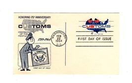 POSTCARD-FDC  HONORING 175 ANNIVERSARY OF US CUSTOMS-1964 4c CUSTOMS STA... - $1.96