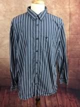 American Eagle Outfitters Vintage Fit Slate Blue White Stripe Shirt Men'... - $281,79 MXN