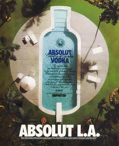 Absolut Advertisement Absolut L.A. 1994 Vodka Liquor AD Aerial View Luxury Pool - $14.99
