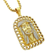 "18k Gold Plated Large Jesus Pendant Stainless Steel Necklace with 30"" Ch... - £66.40 GBP"