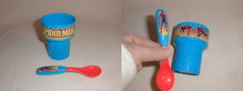 Spiderman ice cream cup  w spoon child kid baby cute - $19.77
