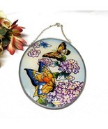 33606 Handpainted Phlox and Butterfly Suncatcher - $8.50