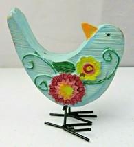 Vintage Lovely Decorative Resine Composite Blue Flowers bird figurine - $12.00