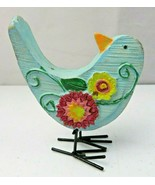 Vintage Lovely Decorative Resine Composite Blue Flowers bird figurine - $12.00