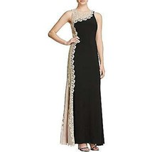 Avery G Women's Metallic Lace Side Formal Dress, Black/Gold, 4 - $49.49