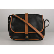 Authentic Hermes Vintage Black and Tan Leather Noumea Shoulder Bag - $1,128.60