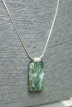 Natural Seraphinite Gemstone Sterling Silver Pendant Rectangle Green  - $42.00