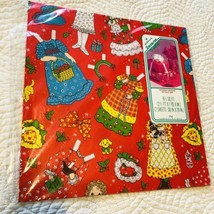 VTG Hallmark Christmas Gift Reverse A Wrap Wrapping Paper Paper Doll Gir... - $23.16