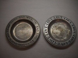 VINTAGE Set of 2 WILTON Columbia PEWTER Plates TIME TO ENJOY HEALTH Phra... - $34.27
