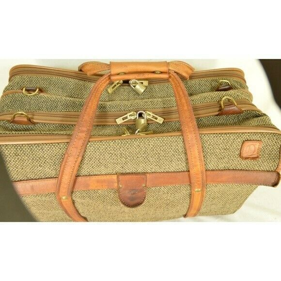 "Hartmann Luggage 21"" Tweed & Leather Vintage Carry on image 11"
