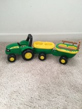 Works Toy John Deere Tractor Hay Ride Wagons Musical Farmer Horse Sheep ... - $7.87