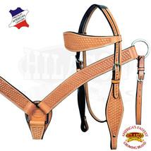 Horse Western Headstall Breast Collar Set American Leather Tan Hilason U... - $103.94