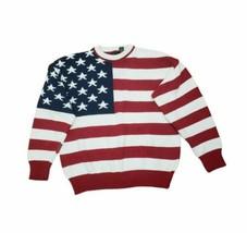 Vintage Cotton Sweater American Flag Red White Blue Stars Stripes Boxy Sz M - $59.99