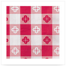 Red Gingham Beverage Napkin 2 Ply 1/4 Fold/Case of 1000 - $120.47 CAD
