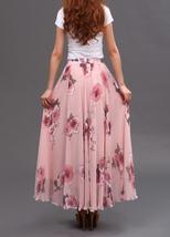 Women Pink FLORAL Chiffon Long Skirt A-line Flower Long Chiffon Skirt Summer  image 4