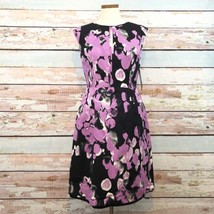 NWT Adrianna Papell Fit And Flare Cocktail Dress Size 8 Black Floral $120 - $65.44