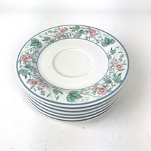 Mervyns KENSINGTON Stoneware Vtg Floral Saucers set of 6 Japan - $29.69