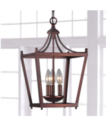 Antique Copper Mini Lantern Chandelier Hanging Light Fixture Ceiling Pen... - $128.97