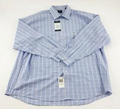 ARROW Men's Dress Shirt 2XL Blue Stretch Regular Fit Easy Care Long Slee... - $29.70