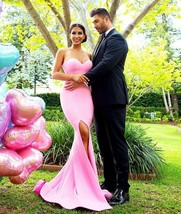 Pink Noble Prom Dresses, Sexy Sweetheart Split Side Prom Gomns - $179.00