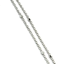 """18K WHITE GOLD CHAIN MINI THIN CIRCLE ROLO 1mm ALTERNATE FACETED CUBES 16"""" image 2"""