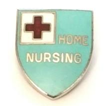 VTG American Red Cross Home Nursing Pin Badge Silver Tone Enamel Shield ... - $11.14