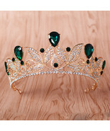 Tiaras E Cor Vintage Crystal Green Tiara Women Wedding Headpiece Bridal ... - $29.54