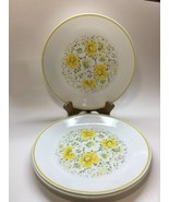 "Corelle April Pattern 10 1/4"" Dinner Plates Yellow Flowers Corning Set of 4 - $22.91"