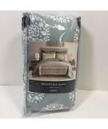 Nico Euro Pillow Sham Grey/Aqua Reversible 100% Cotton - $9.74