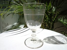 EAPG c 1900 Clear Glass Water Goblet Plain with Diamond Bands - $24.75