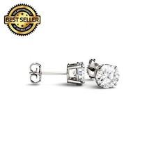 0.20 G VS2 Carat Genuine Diamond Stud Earrings in 14K White Gold - $99.00