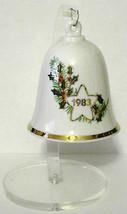 1983 Hallmark Porcelain Christmas Bell Holly Gold Trim Vintage Acrylic S... - $11.88