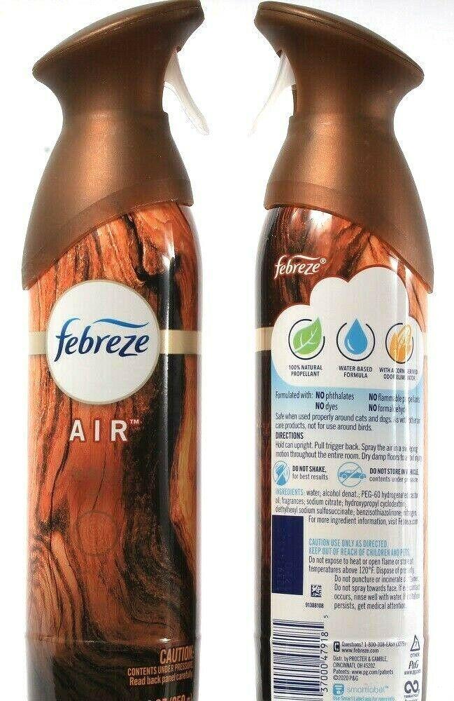 2 Ct Febreze Air Wood Scent Amber Oud Cedar Natural Propellant Water Based 8.8oz - $23.99
