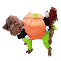 NACOCO Dog Costume Carrying Pumpkin with Doll Pet Cat Costumes Funny Hal... - $23.75