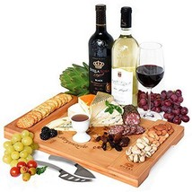 Unique Bamboo Cheese Board Charcuterie Platter and Serving Tray for Wine... - $30.89