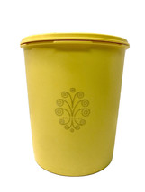 Tupperware Vintage # 807-8 Servalier Yellow Round Canister & Pleated Lid # 808 - $10.35