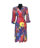 VTG Anthony Mark Hankins 8 Med Bold Bright Color Floral Blazer Top Long ... - $89.95
