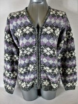 St Johns Bay Womens Medium L/S Lavender Gray Full Zip Cardigan Sweater (V)P - $21.99
